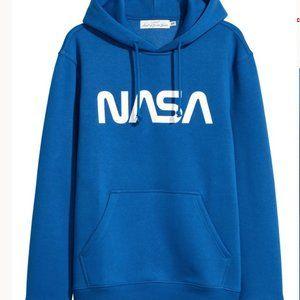 H&M Bright Blue NASA Mens Hoodie Small